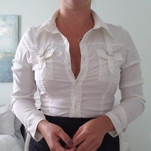 3/$30 White adjustable blouse